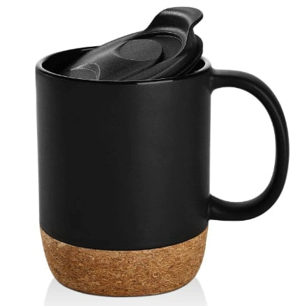 Large Ceramic Mugs With Insulated Cork And Splash Proof Lid