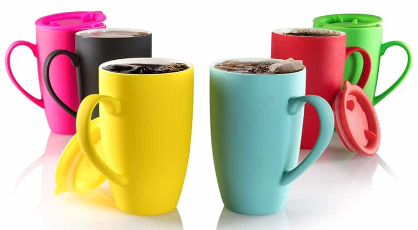 ceramic coffee mug set with lid